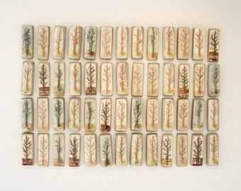 "Hand painted ceramic tile from ""Orchard"" series. Trees, natural, neutral, earthy, rustic"
