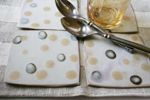 Set of four stoneware coasters