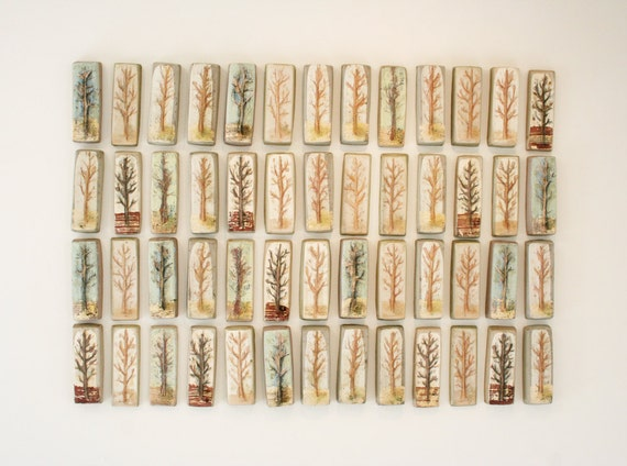 """Hand painted ceramic tile from """"Orchard"""" series. Trees, natural, neutral, earthy, rustic"""