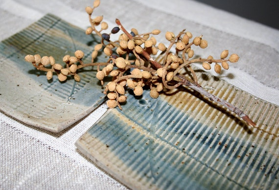 Two tiny stoneware dishes. Stormy blue, tan, rustic, textured, catch all, spoon rest, appetizers.