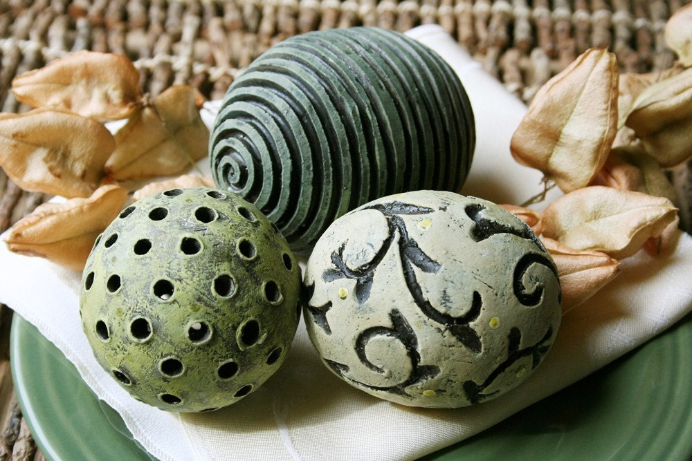 Group Of Three Decorative Ceramic Spheres Reserved For