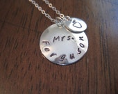 TEACHERS Necklace with Name and Apple, celebrate Teacher Appreciation Week May 7th-11th