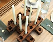 4 Piece Walnut CANDELABRA -- 16 inch Thru-Block CANDEL HOLDER Set