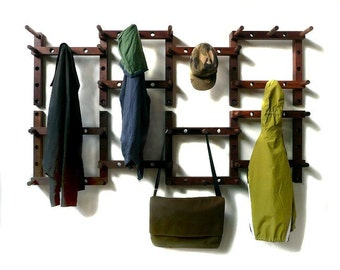 Thru-block WOODEN COAT RACK - 23 piece  stacked fiels pattern