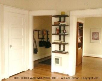Thru-Block Wall Mounted MODULAR SHELVING SYSTEM (small 2  foot wide)