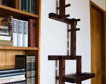 Thru - Block wooden coat rack- 8 piece vertical  pattern with Key Shelf