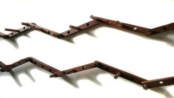 Thru-block WOODEN COAT RACK - 14  piece double  zig-zag pattern