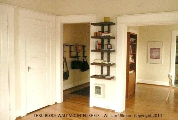 Thru-Block Wall Mounted MODULAR SHELVING SYSTEM (small 2  foot wide)