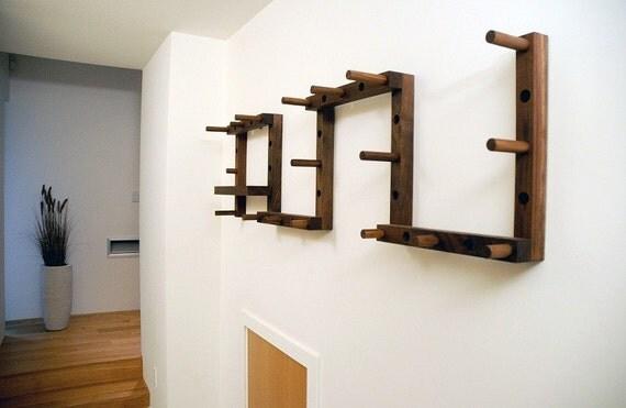 THRU-BLOCK Walnut Coat Rack - 9 Piece Set with Key/Wallet Shelf