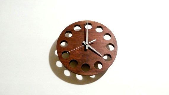 Thru-Block wall mounted wood clock with bevelled back