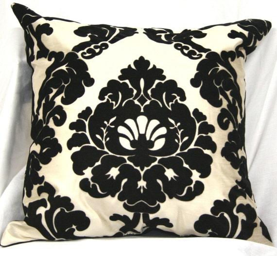 Damask black and white flocked taffeta pillow
