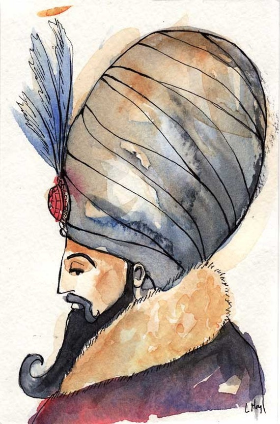 The Sultan - 4x6 Original Watercolor Painting (Matted)