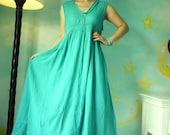 Sundress ....Sleeveless V-Neck Hand-Dyed Greenish Turquoise Light Cotton Maxi Dress With Cotton Lace And Side Pockets