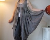 2 Tone Butterfly -  Long Tanktop In Light Cotton Mix Polyester Hand Dyed  In Dark Chocolate Brown