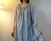 Soft Light-Weight Grey Cotton Mix Polyester Tunic/Blouse With Raglan Sleeve And Pleat Around Collar And Bottom Hem