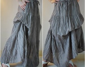 Meet You There... Steampunk Funky Light Cotton Ruching Tiered Maxi Skirt Hand Dyed In Light Taupe
