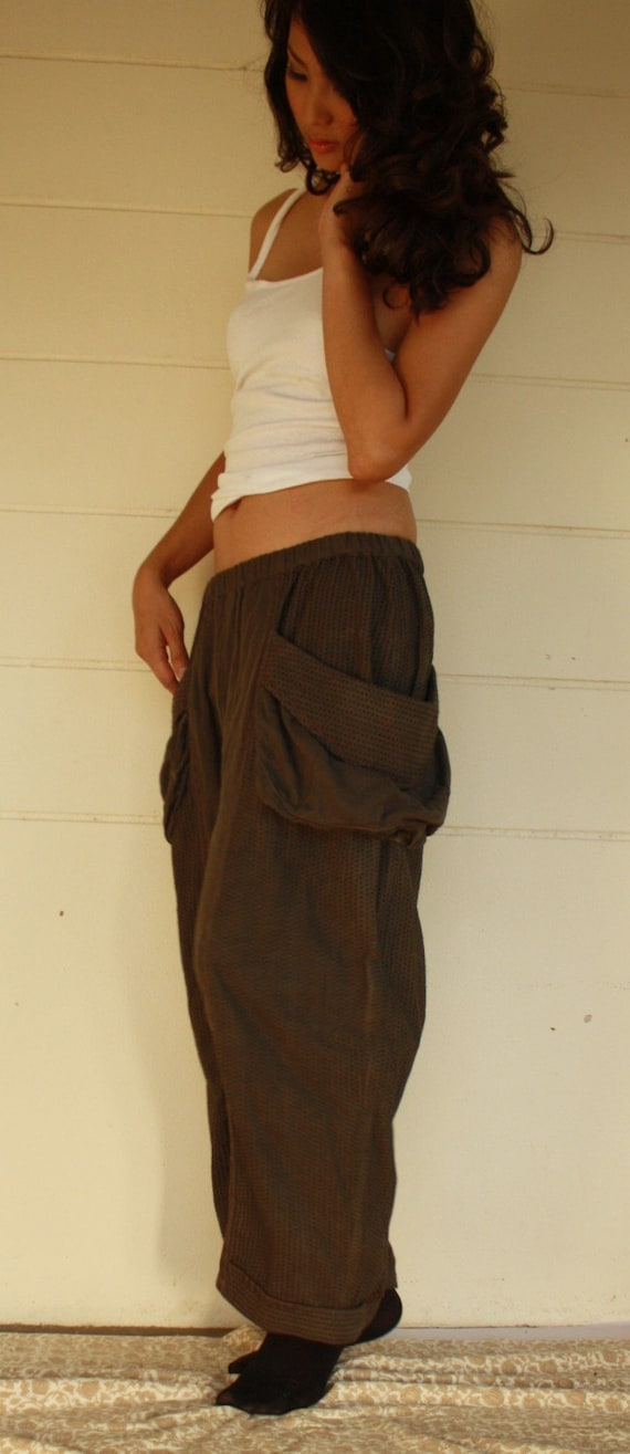 Somewhere I Belong - Big Pocket Hand Dyed Cotton Pants With 2 Roomy Pockets And Hand-Stitched Detail