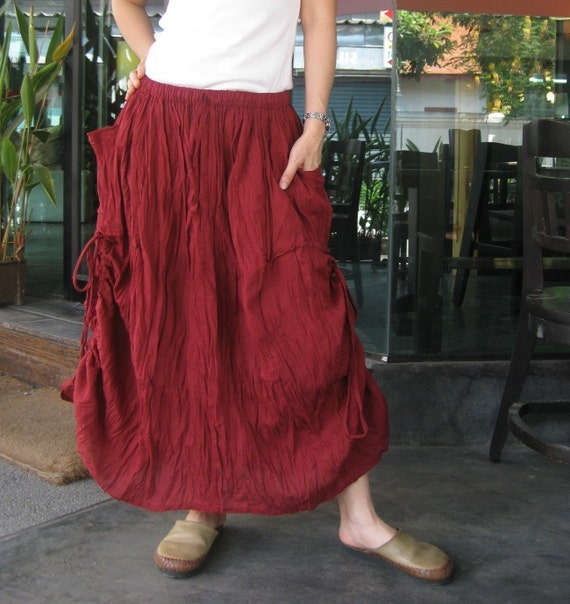 Love Me..Love Me Not (Series III)...Steampunk Light Cotton Skirt In Maroon Color With Adjustable String At Both Side And 2 Roomy Pockets
