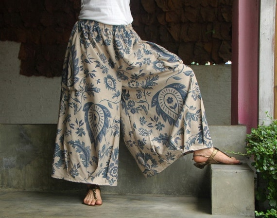 Simply Me (shorter version) -  Blue Floral Printed  Linen Mix Cotton Wide Legs Pants in Sand