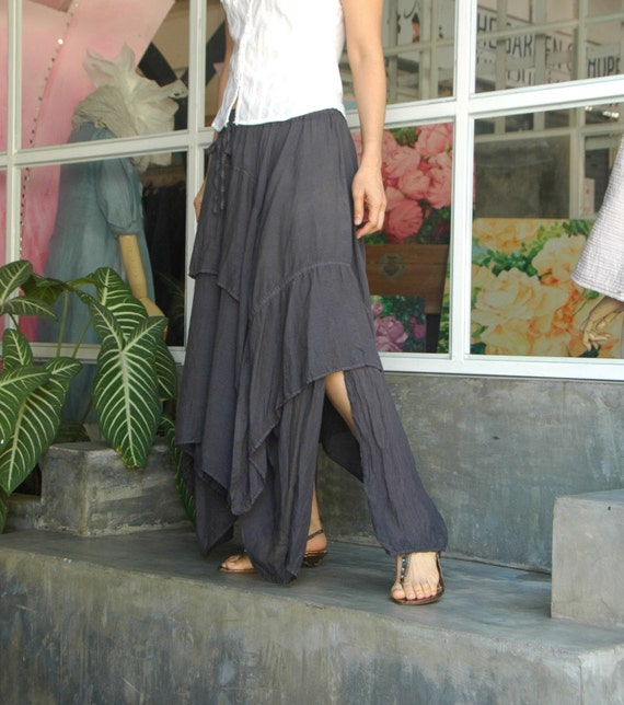 Let's Step Out...Light Filament Cotton Skirt With Asymmetrical Hem Hand Dyed In Dark Charcoal