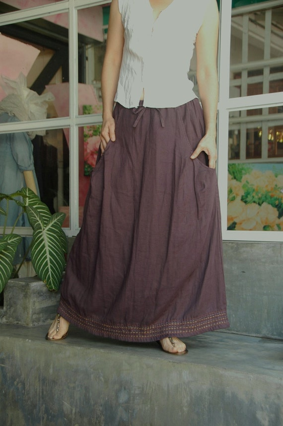 You May Love... A-Shaped Dark Brownish Purple Double Gauze Cotton Skirt With Colorful Hand Stitched At Bottom Hem