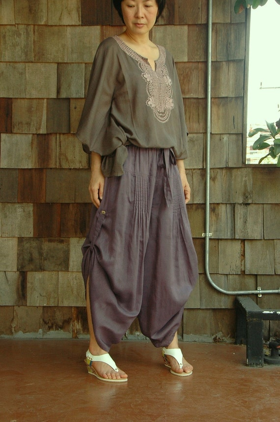 Timeless (Series II) - Steampunk Maxi Wide Leg Light filament Cotton Pants In Dull Lavender