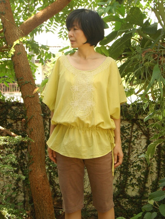 Batwing Poncho... Azo Free Yellow Cotton Poncho with Natural White Hand- Embroidered Detail