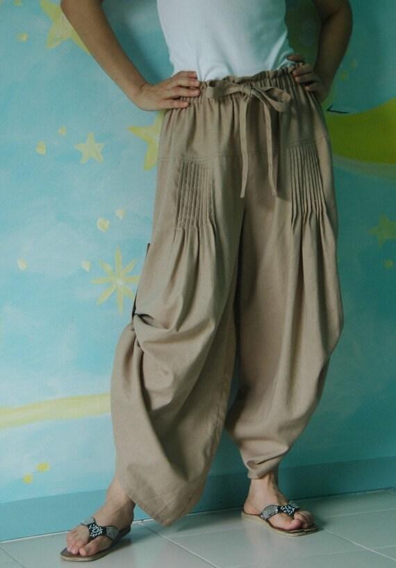 Timeless (Series II) - Steampunk Maxi Wide Leg  Linen Mix Cotton Pants In Sand