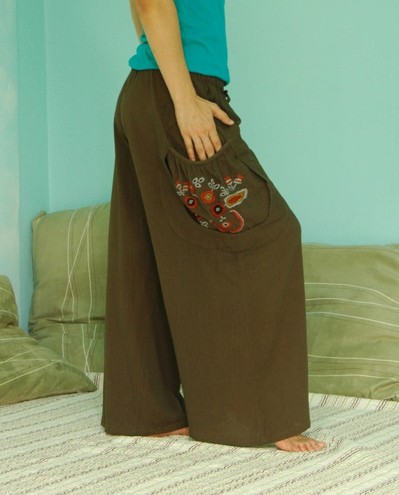 Look At Me Now...Wide Legs Dark Greenish Brown Cotton Pants With Hand Embroidered Detail On Pocket