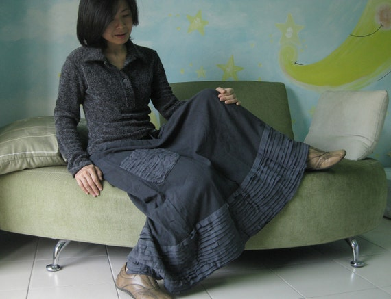 Artistic Fray - Hand Dyed Dark Blueish Charcoal Medium weight Cotton Skirt With Fray Frill