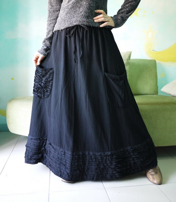 Artistic Fray - Hand Dyed Black Medium weight Cotton Skirt With Fray Frill
