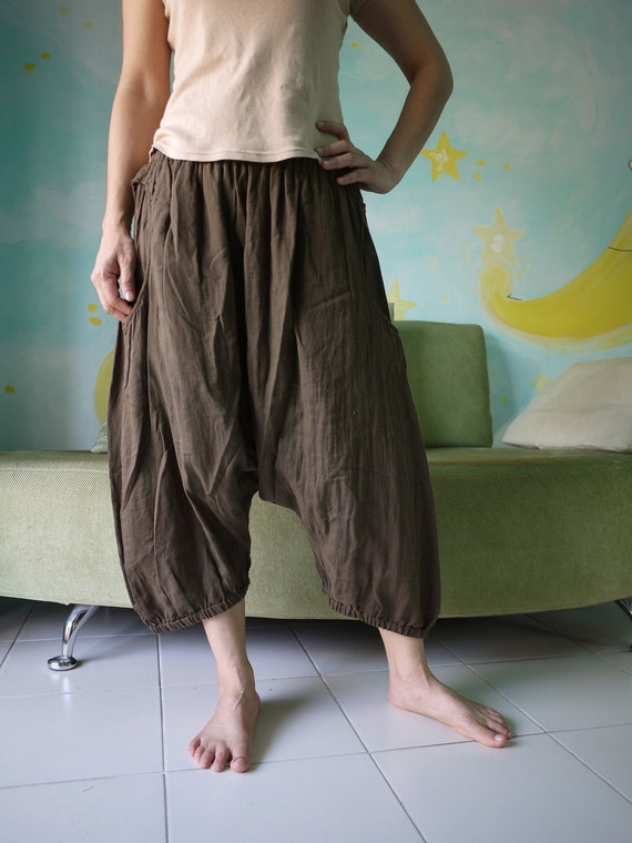 Enjoy Your Day - Azo Free Greenish Dark Brown Double Gauze Cotton... Unisex Pants