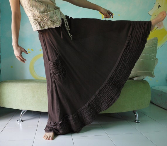Full Circle - Hand Dyed Dark Chocolate Brown Light Cotton Blend Viscose Skirt With Fray Frill
