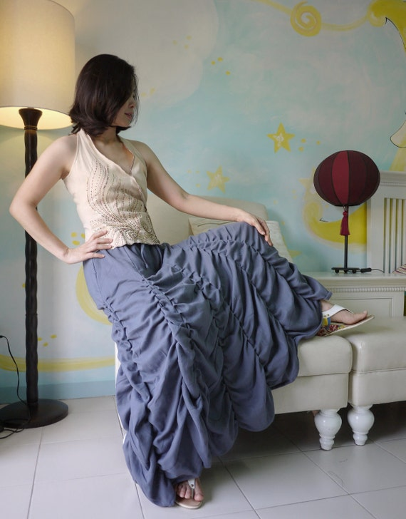 Steampunk, Victorian Long Ruched Skirt In Blue Light Double Gauze Cotton With short Lining