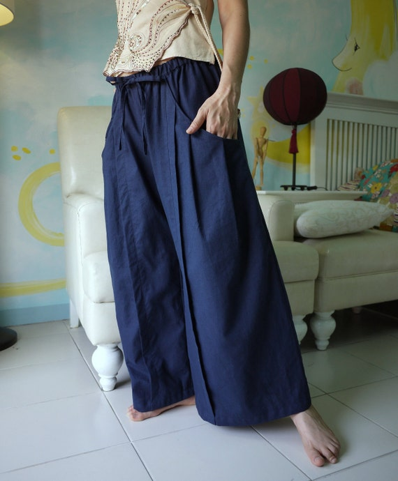 Leisure Time - Dark Indigo Blue Linen Mix Cotton wide Legs Pants With Pleated Detail On Each Pockets