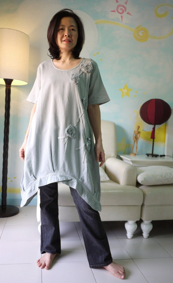 Funky Blossom...Floral Applique Blueish Grey Light Linen Mix Cotton Blouse Tunic Dress With Asymmetrical Hem
