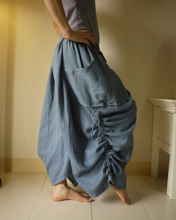 Love Me..Love Me Not II - Steampunk Blue Light Double Gauze Cotton Convertible Skirt Or Pants And 2 Roomy Pockets