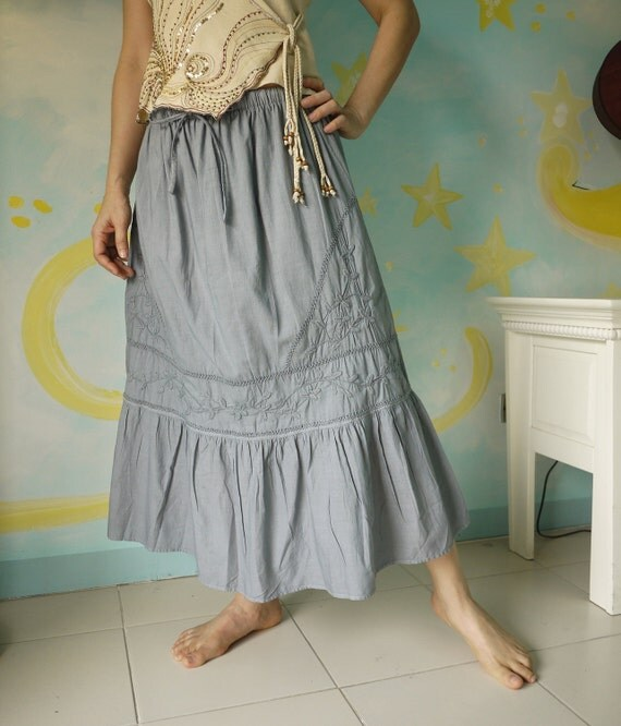 Summer Blossom....Blueish Grey Light Muslin Cotton Skirt With Floral Hand Embroidered Detail Both Front And Back