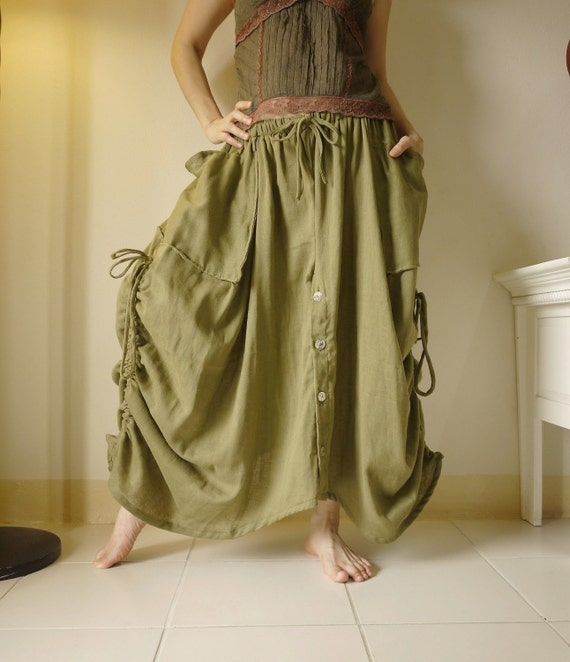 Love Me..Love Me Not II - Steampunk Olive Green Light Double Gauze Cotton Convertible Skirt Or Pants And 2 Roomy Pockets