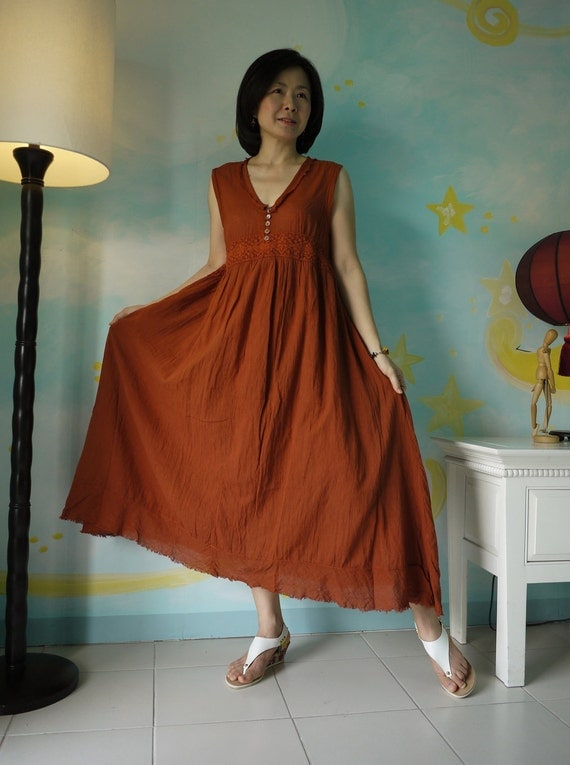Sundress ....Sleeveless V-Neck Hand-Dyed Burnt Orange Light Cotton Maxi Dress With Cotton Lace And Side Pockets