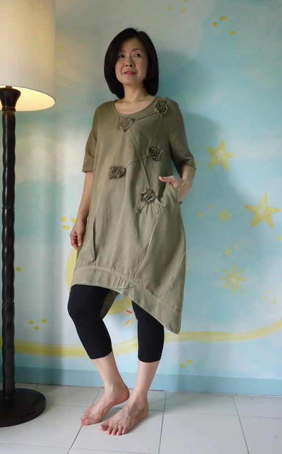 Funky Blossom...Floral Applique Hand-Dyed Olive Green Light Linen Mix Cotton Blouse Tunic Dress With Asymmetrical Hem