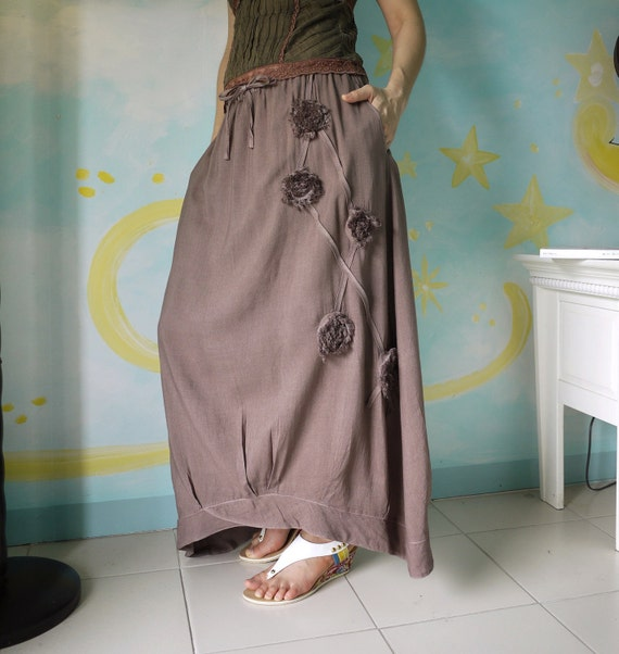 Funky Blossom...Floral Applique Hand Dyed Cocoa Brown Cotton Mix Viscose Skirt