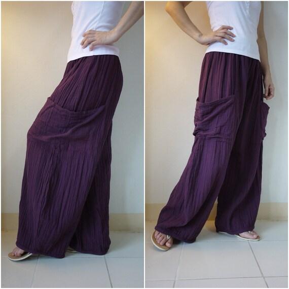 Plus Size& Long Leg - Take Me Home...Hand Dyed  Dark Purple Double Gauze Cotton Pants