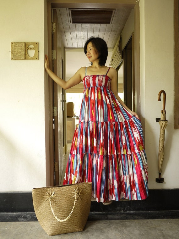 A Little More Love...Colorful Printed Light Cotton Elastic Smocked Bust Tiered Maxi Dress