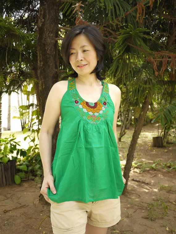 Summer Halter - Colorful Floral Hand-Embroidered Green Colored Cotton Scoop Neck & Y Back Tank