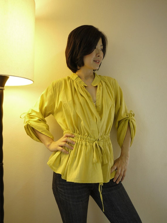 Pretty..Pretty III - Steampunk , Victorian Long Sleeve Empire Waist Yellow Light Cotton Blouse/ Vest