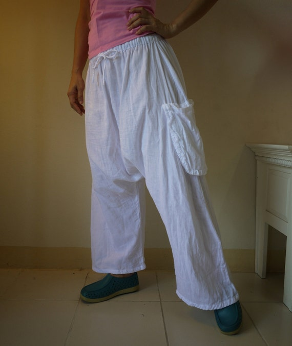 Chic Summer Unisex Pants - White Double Gauze Cotton Pants With 2 Side Hanging Pockets