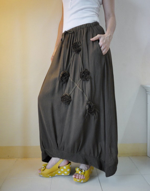 Funky Blossom...Floral Applique Hand Dyed Greenish Dark Brown Cotton Mix Viscose Skirt