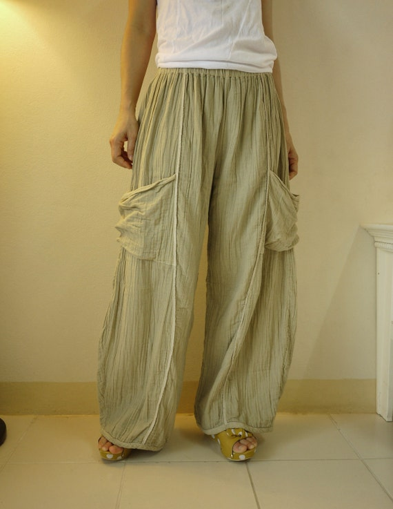 Plus Size - Take Me Home...Hand Dyed Beige Double Gauze Cotton Pants