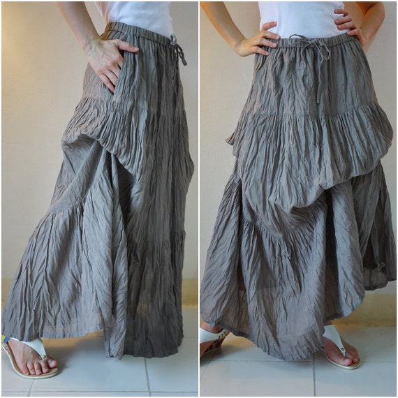 Meet You There... Steampunk Funky Light Cotton Ruching Tiered Maxi Skirt Hand Dyed In Taupe